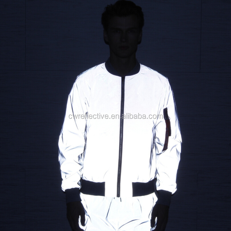 hi vis hot sale fashionable custom silver reflective cycling apparel jacket