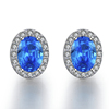 MDEAN White Gold Plated Stud Earrings
