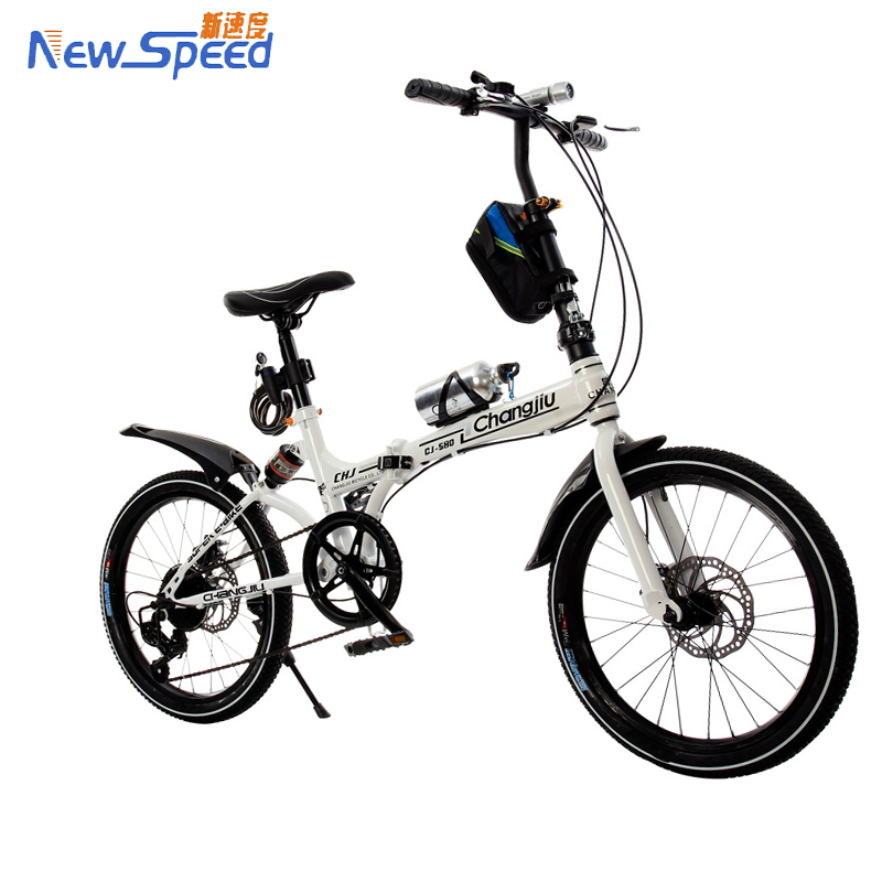 "China Factroy 16"" 20 inch Popular 7 Speed Folding Bicycle Mini Foldable Bike with Dis brake and shock absorp- White Black Orange"