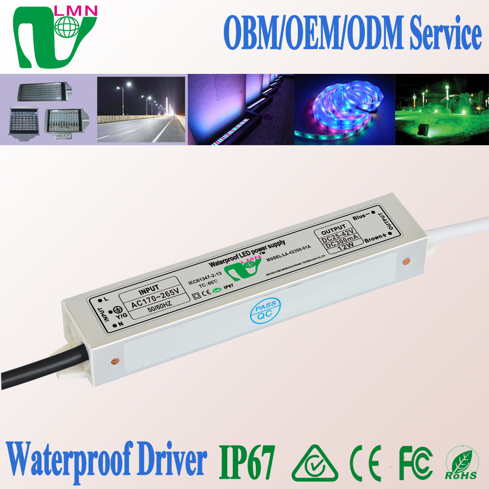DC output waterproof 300mA 12W led driver IP67 CE RoHS approved