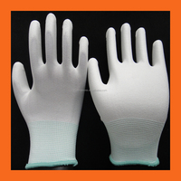 13 Gauge Cheap Nylon Seamless knitted PU Fit Gloves/ Safety Work Polyurethane Palm Dipped Gloves for Quality Control Inspection