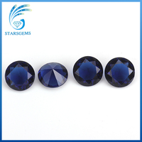Loose round shape glass stone synthetic blue sapphire gemstone