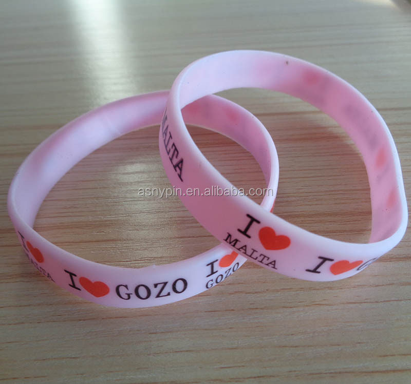 pink printing work silicone wristband