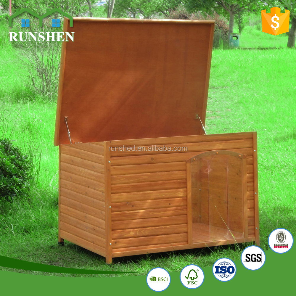 Open Roof Outdoor Large Solid Wood Dog Kennel and for Pet Size XL Waterproof