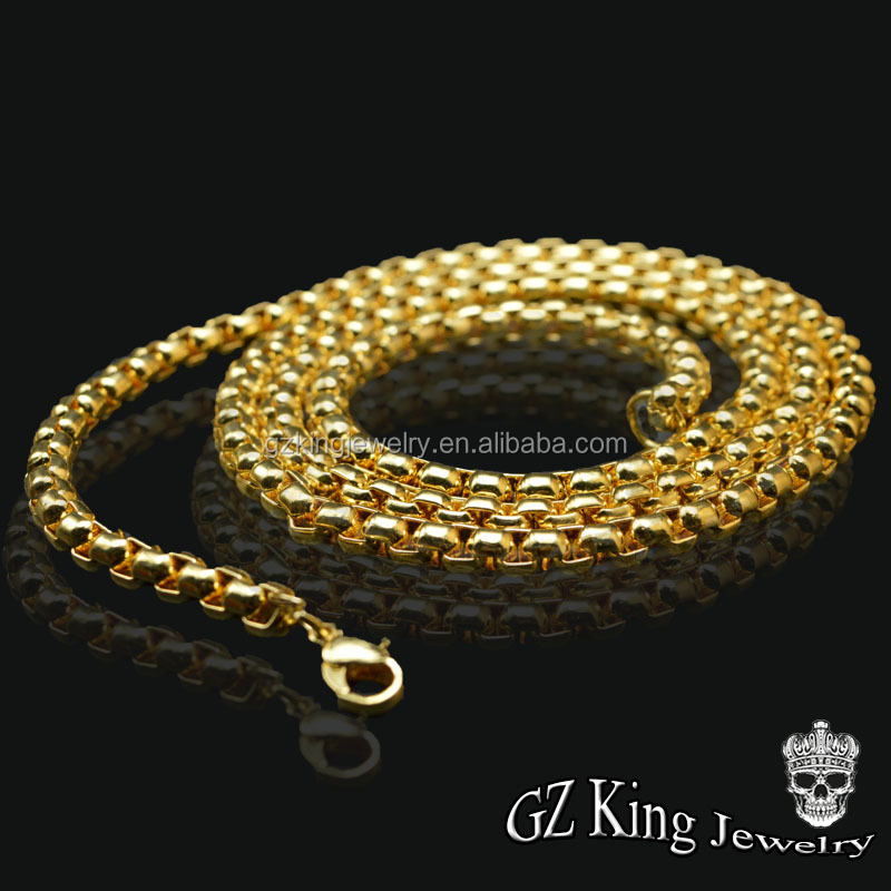 China cheap 18k new gold box chain necklace design whlolesale