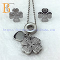New Excellent Quality Silver Jewelry Four Leaf Clover Necklace And Earrings