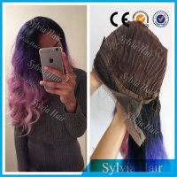 Wholesale Carney Caron synthetic ombre purple pink wig half hand-tied short lace front hair wigs for black women