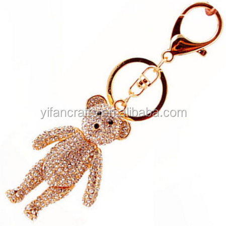 Crystal teddy keychain,rhinestone teddy bear keyring,CUTE key ring,LOVELY!