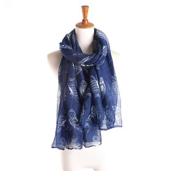 Wholesale Fashionable Cute Owl Printed Scarf Lightweight Women's Scarves Shawl