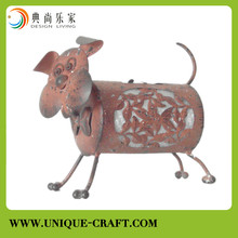 Lovely metal dog with solar light for garden decoration