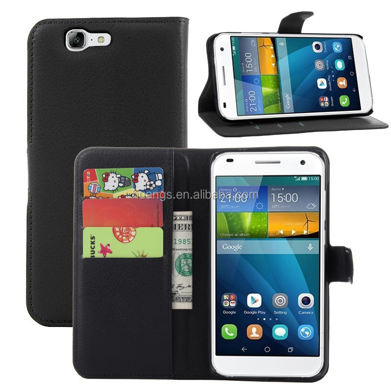 for huawei ascend g7 case, Litchi Design With Credit Card Sltos Wallet Stand Flip Leather Cover Case for Huawei Ascend G7