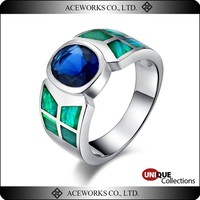 Aceworks Trendy 925 Sterling Silver Amethyst Opal Ring Fashion Design