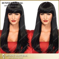 7A Best Quality Straight Brazilian Hair Glueless Virgin Human Hair Full Lace Wigs with bangs For Black Women