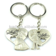 Fashion custom logo metal lover keychains key ring for couples