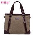 Canvas leather shoulder bag computer tote bag business documents handbag for teenage