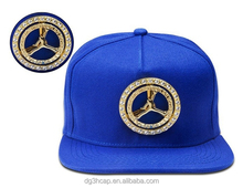 Factory supply fashion flat brim 100% cotton custom design snapback cap hiphop hat with metal logo