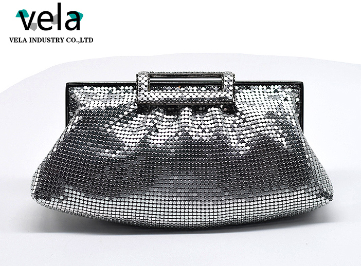 2017 New Design Silver Aluminum Mesh Pleat Clutch Bag For Wedding