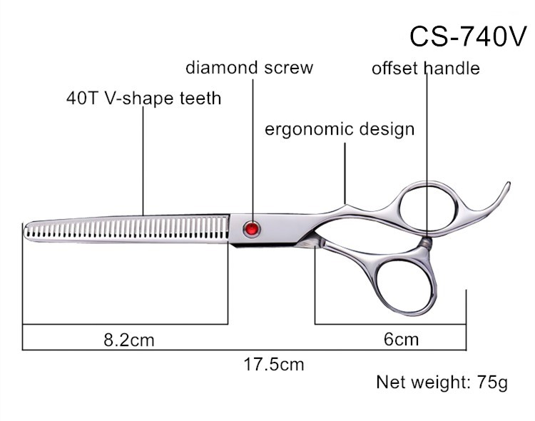 7 inch 40T sharp teeth stainless Best grooming shears, High quality pet grooming sciccors