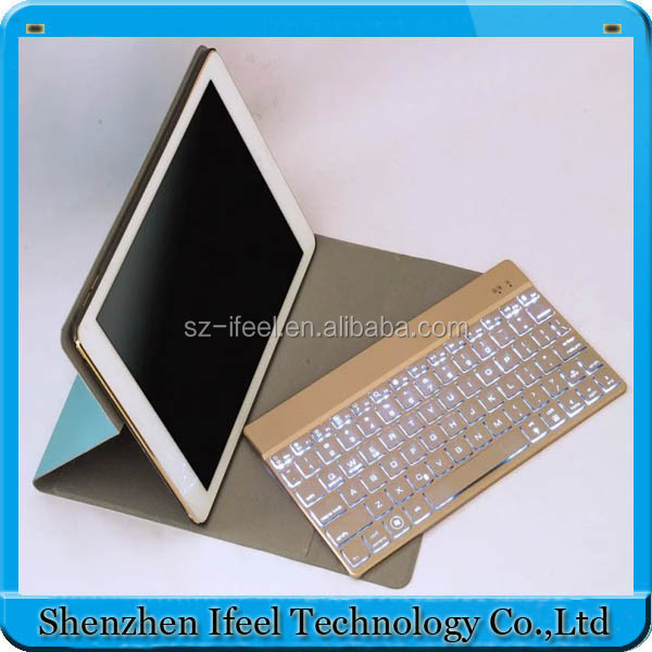 Slim Aluminum 7 Colorful Backlit Wireless Bluetooth Keyboard Case For iPad Air 2