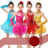 Professional latin dance costume for girls for performance Tasseled Latin Salsa Dancewear Girls Party Dance Costume Dress