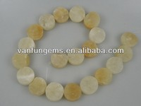 rough Soft Yellow Jade 25mm coins for sale