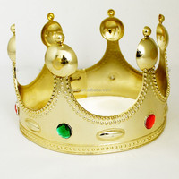 Adjustable size Golden plastic king crown decorations for activity