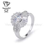 Wholesale platinum plated cubic zirconia crystal simulated diamond engagement ring