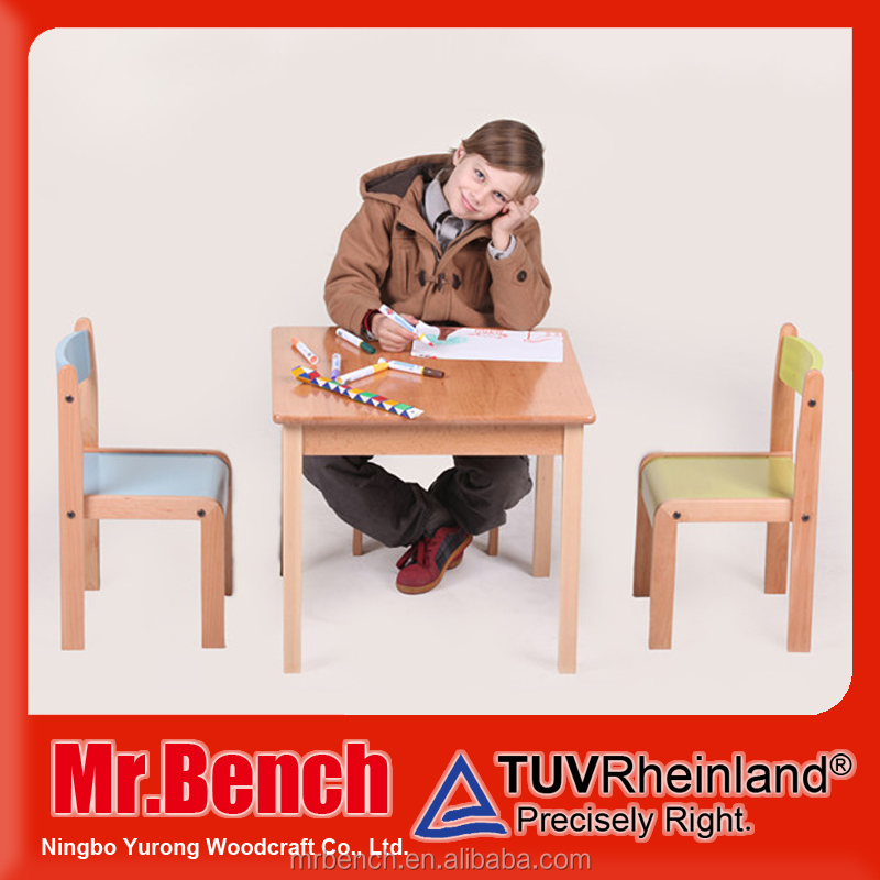 Free sample Children table wooden furniture set nursery school child study table chair set