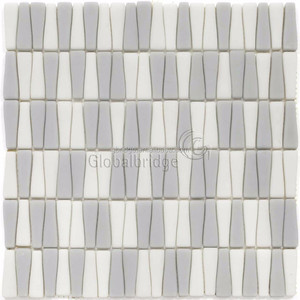Special shape mixed color mosaic tile enamel leaf glass mosaic tile