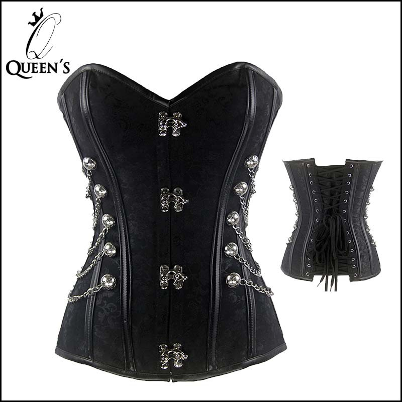 New Sexy Overbust Plus Size Steampunk Corset Top Women Gothic Steel Boned Corsets Bustier Silver Lace Up Corselet S to 6XL