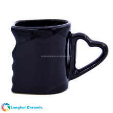 Personalised custom heart shape handle ceramic kiss face mug cup for gift