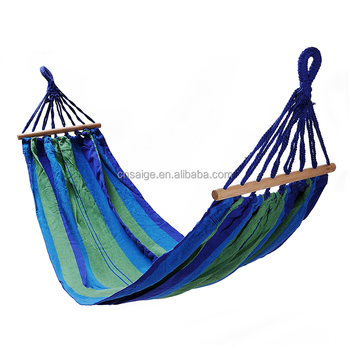 Rollover Prevention Outdoor Camping100% Cotton with Wooden bar Hammock