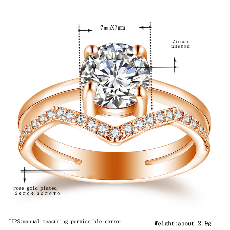 Tocean Rose Gold Color Wedding Rings for Women Round Cute Round Cubic AAA Zircon Engagement Femme Bijoux Bague Size 5-12 <strong>W007</strong>