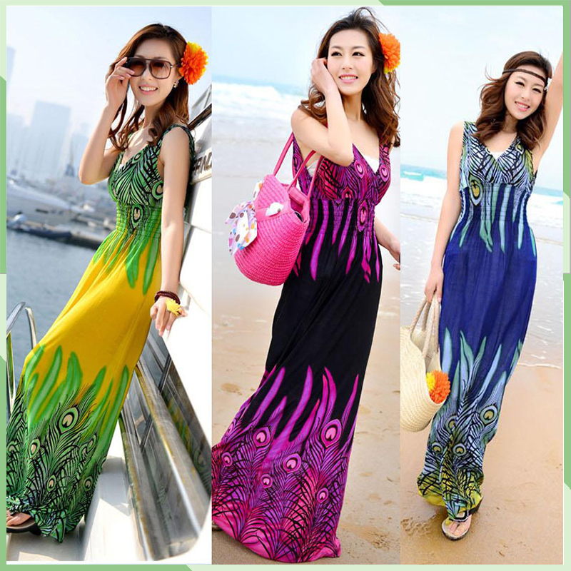 2015 New Summer Boho Long Maxi Dress Sleeveless Beach Dresses Sun dress