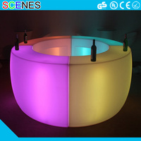 hot sale outdoor patio plastic garden treasures round bar table illuminated golw light up led furniture lighting