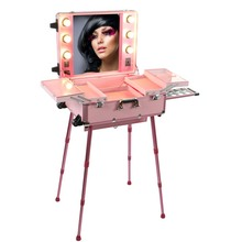 Professional makeup station with lights and mirror,makeup display station with PP laminated board with aluminum frame