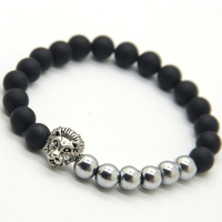 black lave rock stone and stainless steel bracelet Vintage silver lion head men and women bracelet LHB013