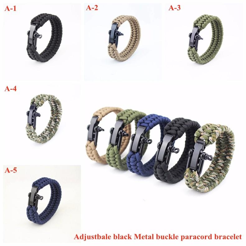 +Adjustbale black Metal buckle paracord bracelet.jpg