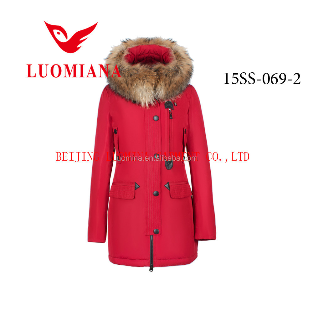 Women winter coats red goose down jacket with fur china clothing wholesale