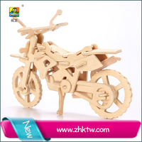 Fashion cross country motocycle wooden crafts factory wood 3d puzzle