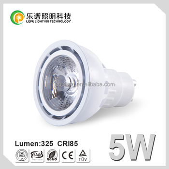 High quality led cob gu10 dimmable 5w 2700K CE Rohs 110v 220v refelctor cup, lens option