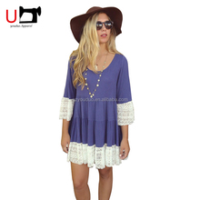 Plus Size Loose Fashion Dress Women Long Sleeve Casual Mini Dress With Lace Women Short Sleeve Custom printing Cotton