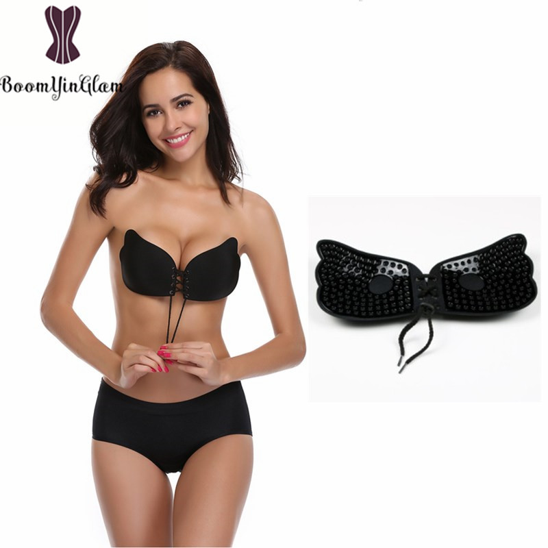 ed7be58b51 Strapless Sticky Bra Backless Self Adhesive Invisible Push Up Reusable Bras  Drawstring Big Size Bra