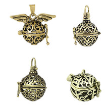Copper Prayer Box Pendants Round Antique Bronze Mixed Hollow 35mm x21mm - 20mm x19mm