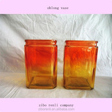 Machine Made Color Glass Unique Oblong Vase