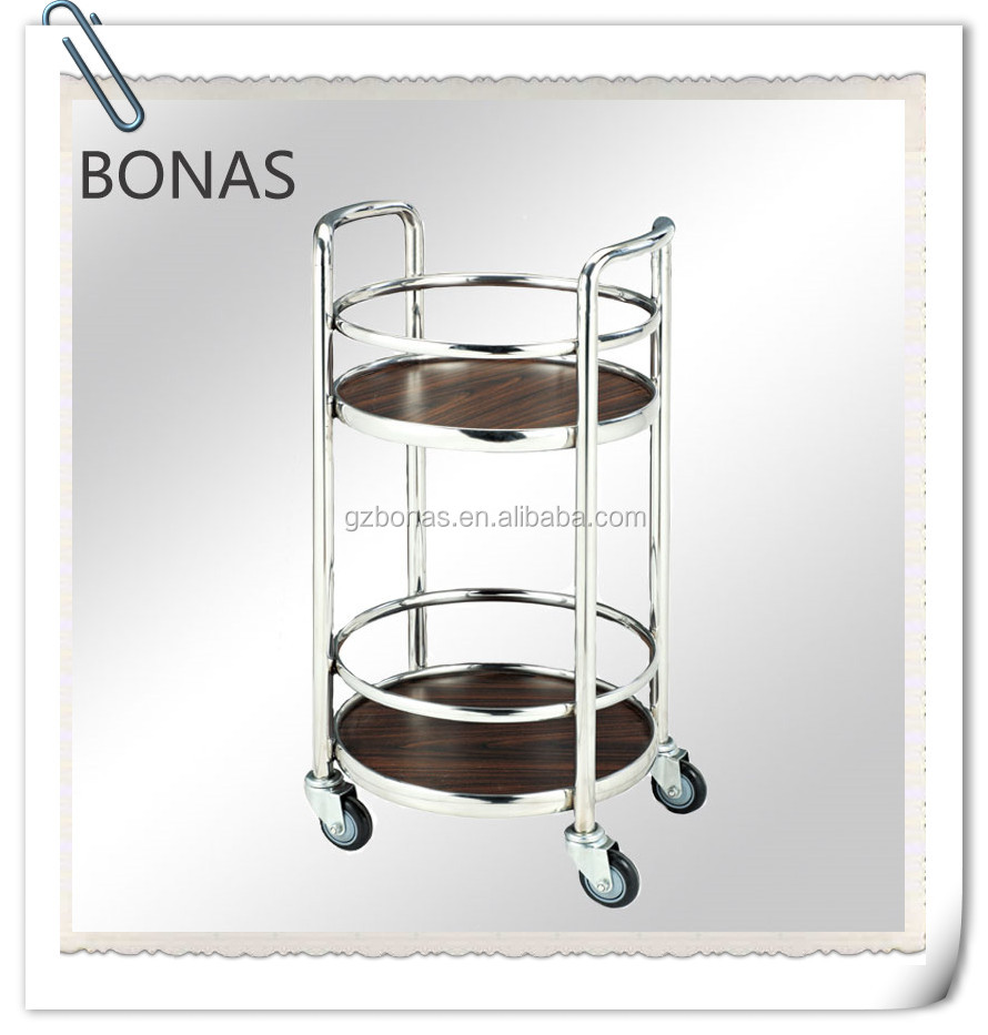 Stainless steel round drinks trolley with double layer, wine bar trolley