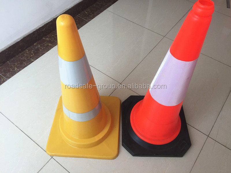 Flexible PVC traffic cone Orange safety cones black