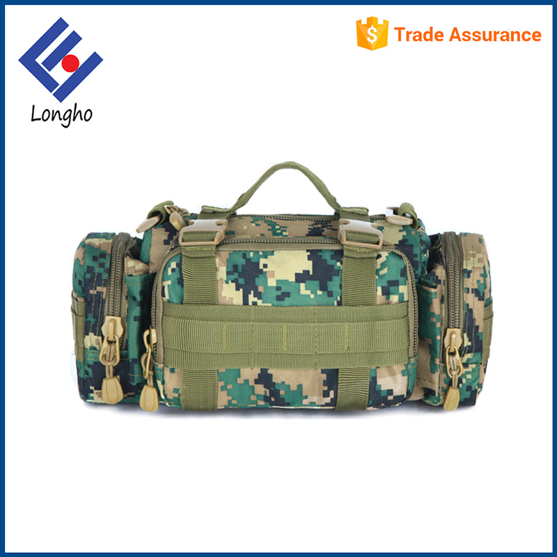 2017 New model multi pockets personalized camouflage travel bag top reinforced buckle straps army military duffel bag