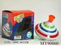 Hot sale promotional plastic toy spinning top with light music 10cm