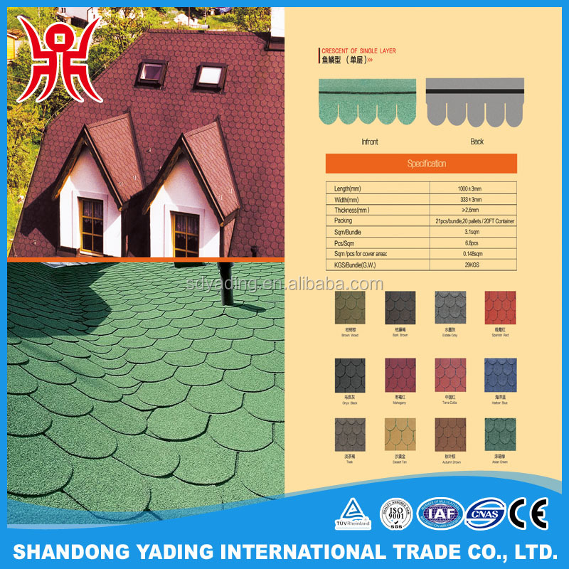Color spanish red crescent of single layer round asphalt shingle